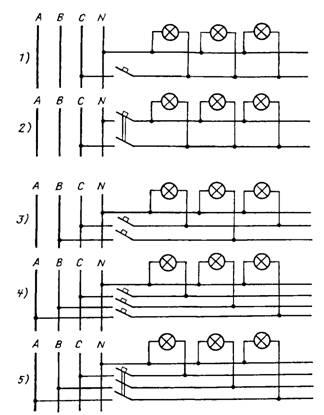 Схемы групповых линий при
