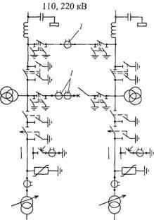Схема «мостик с выключателем в перемычке и отделителями в цепях трансформаторов»