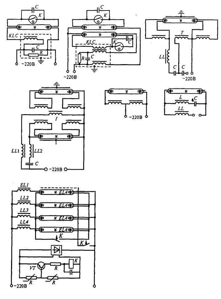 Схема зажигания люминесцентных