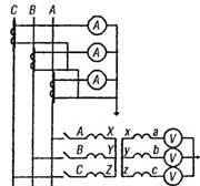 Включение амперметров в вольтметров в трехфазную цепь