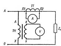 Схемы включения амперметра и вольтметра в однофазную сеть через трансформаторы тока и напряжения