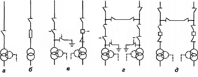 Блочные схемы РУ ПС 35 кВ